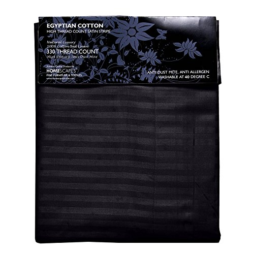 Homescapes 2 teilige Damast Bettwäsche 155×220 cm schwarz 100% ägyptische Baumwolle Fadendichte 330