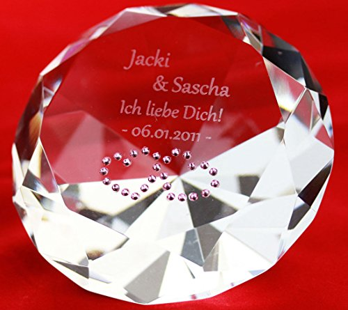 Diamant mit Gravur - romantisches Geschenk für Freund & Freundin - originelles Liebesgeschenk zum Jahrestag (Weißer Diamant mit Herzmotiv, Ohne Swarovski-Kristalle)