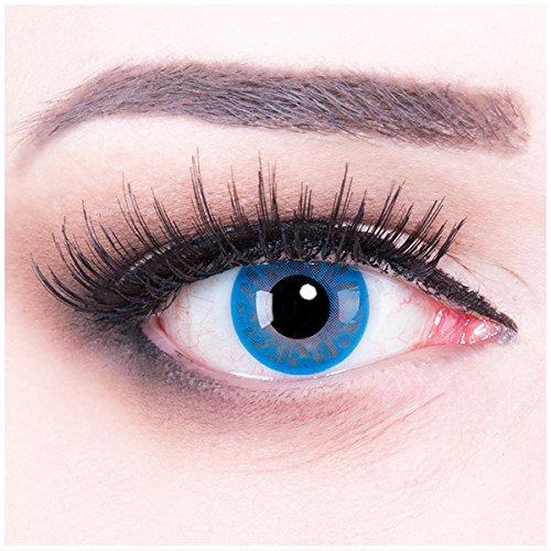 Meralens blaue Kontaktlinsen, Selene mit Pflegemittel ohne Stärke, 1er Pack (1 x 2 Stück)