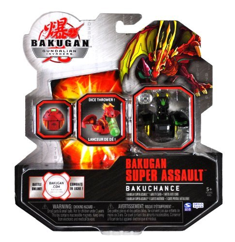 Spin Master Year 2010 Bakugan Gundalian Invaders Super Assault Series BakuChance Single Figure - Darkus Black Dice Thrower CHANCE DRAGONOID with 1 Dice, 1 Ability Card and 1 Metal Gate Card Plus Hidden DNA Code by Bakugan