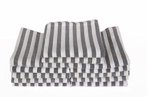 MyHoppi 12er-Set Küchentücher   Geschirrhandtücher aus 100{1d65113535911e68be56afcc9312c7fbf04512f746407276085aa4c5c586450d} Baumwolle   65cm X 65 cm (Gestreift-Schwarz)