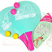 VIAHART Surfminton Classic Beach Tennis Wooden Paddle Game Set (4 Balls, 2 Thick Water Resistant Wooden Rackets, 1 Reusable Mesh Bag) | New and Improved Fall 2019! blue