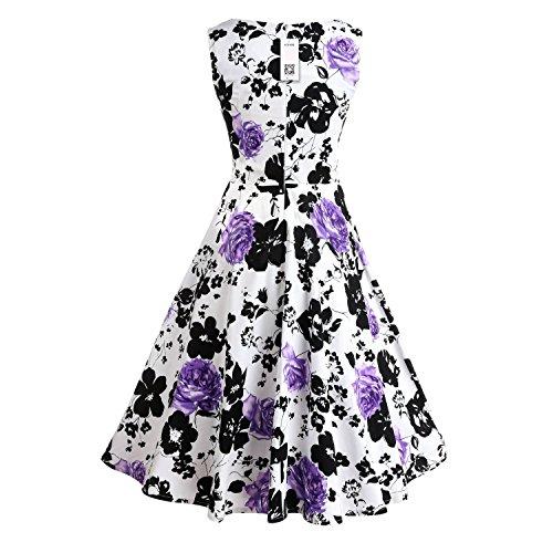 ZAMME Fête de la fête des fleurs à la fête des fleurs du printemps des années 1950 Vintage Rose Violet