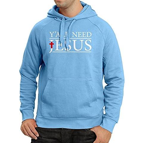 Kapuzenpullover Sie alle brauchen Jesus - religiöse christliche Kleidung (Small Blau Mehrfarben) (Weihnachten Gedicht Religiösen)