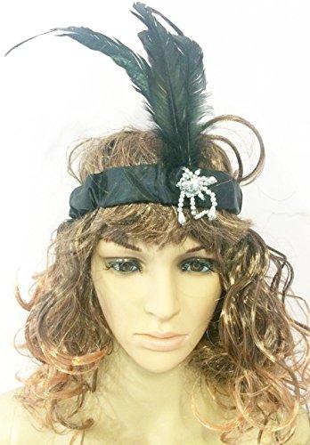 dies Girls Black Flapper Headband Feathers 1980's Charleston Fancy Dress ()