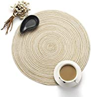 Round Placemats, Woven Braided Table Place Mats for Dining Table, Set of 1 (Milk Coffee)