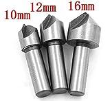 Malayas® Senker HSS Senkbohrer 3pcs Ø 10mm, 12mm, 16mm Fase Hartmetalle Senker für Holz Metall Aluminium