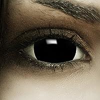 """Mini Sclera Kontaktlinsen""""Black"""" + Kunstblut Kapseln + Behälter von FXContacts in schwarz, weich, ohne Stärke als 2er Pack - farbige lenses perfekt zu Halloween, Karneval, Fasching oder Fastnacht"""