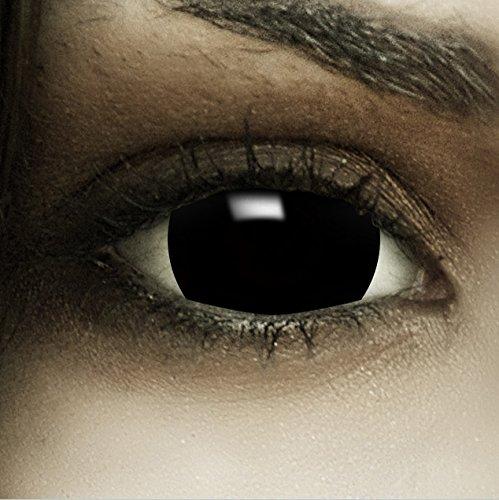 n Mini Sclera Black MIT STÄRKE -4.00 + Kunstblut Kapseln + Behälter von FXCONTACTS in schwarz, weich, im 2er Pack - angenehm zu tragen und perfekt zu Halloween, Karneval, Fasching oder Fasnacht ()