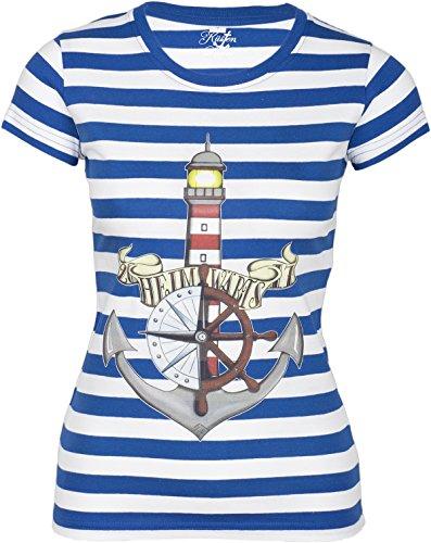 Küstenluder Damen Oberteil Heimwärts Streifen Matrosen Shirt Blau 4XL