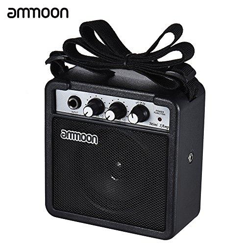 ammoon Verstärker Amplifier Gitarre Mini 5 Watt 9V batteriebetriebene Amp-Verstärker Lautsprecher für akustische / elektrische Gitarre Ukulele High-Empfindlichkeit mit Volume Tone Control Schwarz