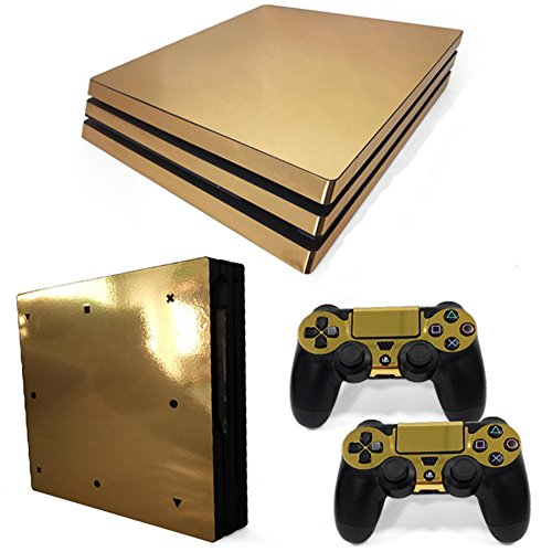 stillshine PS4 PRO Konsole Design Foils Vinyl Skin Sticker Decal Sticker and 2 Playstation 4 Dualshock Controller Skins Pro Set Glossy Gold