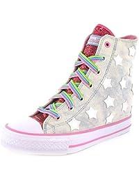 88f0873625f53a New Girls   Kinder Denim Skechers Halbhohe schnürbar Modische Turnschuhe  Denim   pink - UK Größen