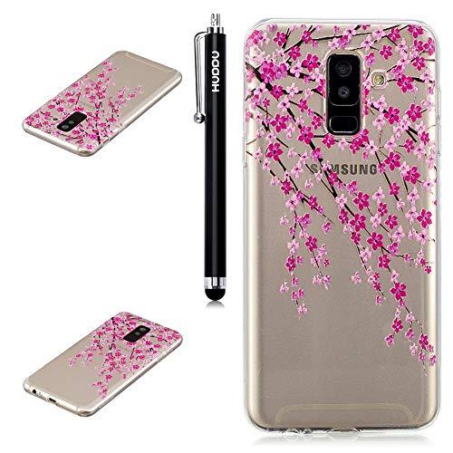 Galaxy A6 2018 Handyhülle, HUDDU Samsung Galaxy A6 2018 Silikon Hülle Transparent TPU Schutzhülle Case Cover Durchsichtig Crystal Clear Backcover Bumper Painted Muster - Pink Pfirsichblüte