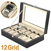 Feibrand Flissy - Estuche para relojes con 12 compartimentos, color negro