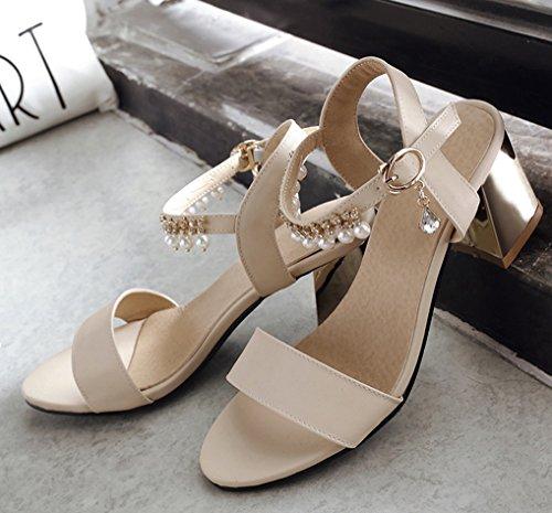 Oaleen Sandales Bout Ouvert Femme Talons Moyen Bride Cheville Chaussures Eté Sexy Beige moderne