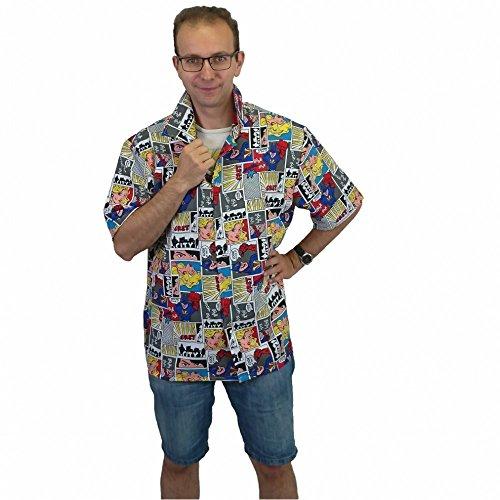 Herren Hemd mit Comic Aufdruck Gr. M- XL Superhelden Kostüm Fasching Karneval (M) (Karneval Kostüme Zeichnungen)