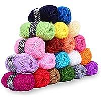 Kurelle Pack de 20 Madejas Hilo de tejer/Acrílico lana - Perfecto para Crochet y Tejer - Hilado grueso para acolchar en una variedad de colores - 40 Metros Hilo de algodón 20 x 25g