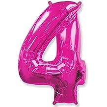 (OFERTA ANTES 5,95€) Globo número 4 para fiestas de cumpleaños, XXL Medida 100 cm, inflándolo con HELIO flotará durante 5/6 días. (FUCSIA)