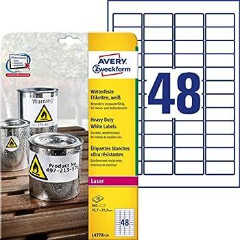 Avery L4778 Etiketten f/ür Laserdrucker 20 Blatt