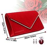 Wocharm Girly Ladies HandBags Faux Suede Clutch Bag Envelope Metallic Frame Evening Party Prom Wedding Bridal Clutch Bag (Red)
