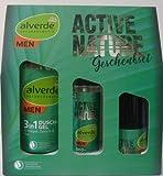 Geschenkset Active nature von alverde mit 3 Produkten: Duschgel 3in1 200ml, Deo Zerstäuber 75ml, Q10 Fluid mit 4 Funktionen 50ml