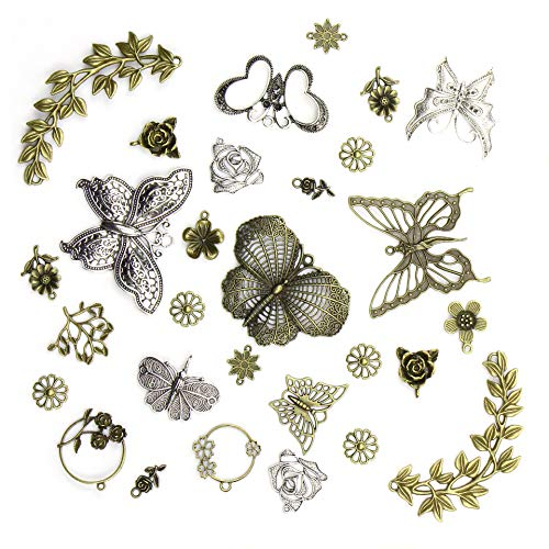 29 Stück Großhandel Schmetterling Blatt Rose Masse Lots Bronze Silber Charms Anhänger Tibetisch gemischt Glatt Silber Metall Charms Anhänger DIY für Halskette Armband Schmuck Herstellung und Handwerk -