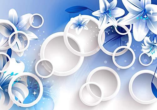 Blätter Blau-tapeten (wandmotiv24 Fototapete blau Abstrakt Blumen Grün Blätter Glanz XL 350 x 245 cm - 7 Teile Tapete, Vliestapete, Fototapeten, Wandbild, Motiv-Tapeten 3D Kreise Glitzern M3430)