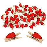 Oblique-Unique® Lot DE 50Mini Pinces à Linge en Bois avec niedlichen Cœur en Rouge ou Blanc–Pinces en Bois Déco Pinces, Rot