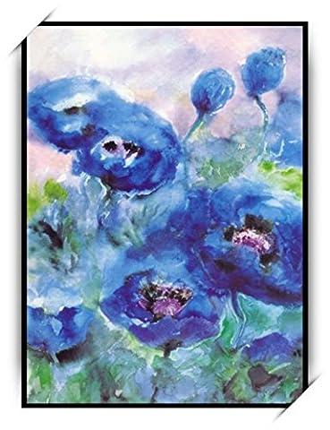 Haehne Modern Fleurs bleues Toiles en coton Impression Oeuvres Peintures à l'huile Photo Imprimé sur toile Art mural pour les décorations maison à la chamber, 30 *45cm(12 *18Inch)), Avec cadre