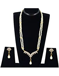 Spargz New Party Wear Gold Plated Alloy Metal Pearl Long Necklace Set For Women