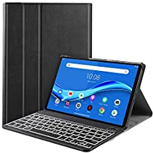 IVSO Backlit Keyboard Case for Lenovo Tab M10 Plus (QWERTY), Slim Case with 7 Colors Backlit Detachable Wireless Keyboard for Lenovo Tab M10 Plus TB-X606F, Oil
