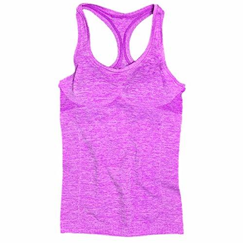 QIYUN.Z Le Sport Forme Physique De Femmes Debardeur Chemisier Sans Manches Debardeurs T-Shirt Decontracte Soutien-Gorge Nouvelle Violet