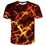 EOWJEED Unisex Cool Casual 3D Muster Gedruckt Kurzarm T-Shirts Top Tees - S