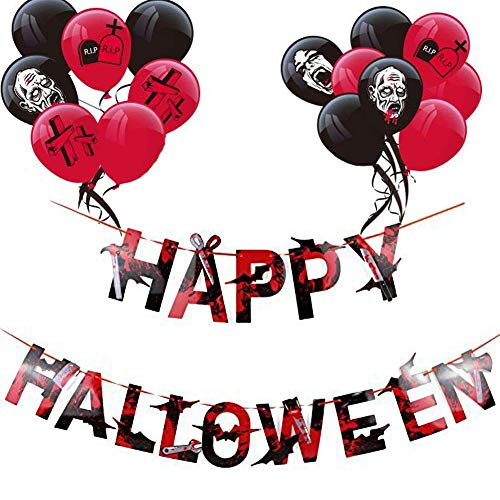 een Girlande Horror Schwarz Rot Latex Luftballons Halloween Zombie Party Deko 16pcs Ballons ()