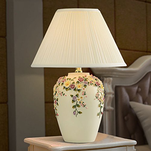 Natural Environmental Protection Resin Material With A White Fabric Light Shade Night Table lamp