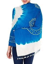 Bleu turquoise crème main Tie-dye laine Châles Wraps Cadeaux Femmes Anniversaire 36x80 pouces