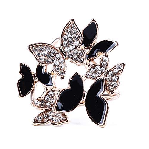 JOOFFF Schal Schnalle Tricyclic Butterfly Schal Halter Glänzende Kristall Brosche Stilvolle Butterfly Schal Clips Tricyclic Scarf Ring, Schwarz