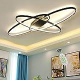 Wohnzimmerlampe LED Deckenleuchte Modern Chic Oval Decke Dimmbar Deckenlampe, Schlafzimmerlampe mit Fernbedienung Acryl Lampenschirm Design Lampe für Esszimmerlampe Bürolampe Küchelampe Deko (Schwarz)