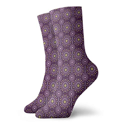 Ye Hua Fun Socken - Dark Purple Mandala_1914 Malerei Kunst gedruckt lustige Neuheit Tier lässig Baumwolle Crew Socken 11,8 Zoll (1914 Damen Kostüm)