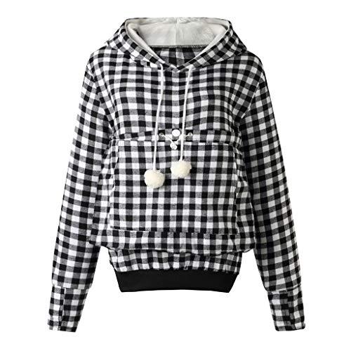 Xiangdanful Kapuzenpullover Frauen Pullover Hoodie Sweatshirt mit Tasche Kangaroo Oberteile Carrier für Kleine Katze Hunde mit Katzen Tasche Damen Kariertes Tuniken Jacke Mantle (4XL, Weiß)