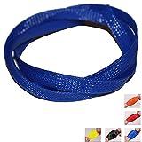 Gewebeschlauch Kabelschutz Servo & Regler Ø6mm Rot Blau Grau Lila Orange Schwarz Weiß Innendurchmesser bis 200% ausdehnbar (3m, Blau Ø6mm)