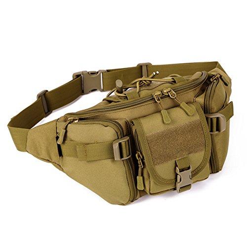 DCCN Tactical Hüfttasche Bauchtasche Militär Gürteltasche mit 5 Fächer inkl. Reißverschluss für Outdoor Sport Trekking Wandern Running -