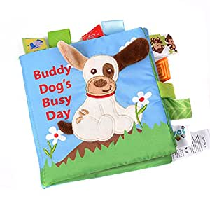 Forberesten Baby's Non-Toxic Soft Fabric Early Education Activity Crinkle Cloth Book Toys for Baby Shower (Dog)