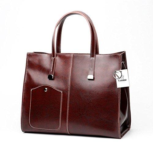 Borsa a tracolla per messenger borsa a tracolla con tracolla in vera pelle da donna Borgogna