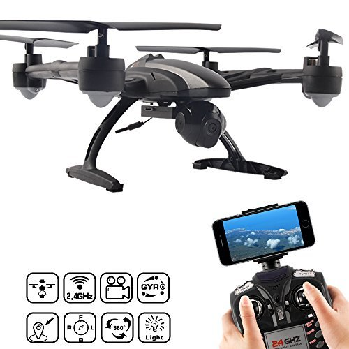 JXD 509W 6 Axis Quadcopter con Wifi Telefono 30W di controllo videocamera HD per Photo Video Trasmissione in tempo reale di mantenimento di altitudine One Key Modalità di ritorno senza testa LED 2,4 GHz - nero