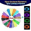MOHOO 20PCS Filament Stylo 3D Fils Filament PLA 1.75 mm 3D…