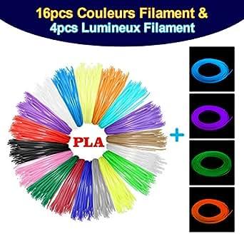 MOHOO 20PCS Filament Stylo 3D Fils Filament PLA 1.75 mm 3D Stylo Fils Filament 5m Pour 3D Stylo à l'impression 3D Dessin(16PCS neutres+ 4PCS fluos)