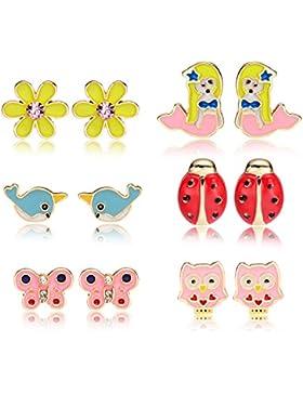 6 Stil Emaille Coole Tiere Ohrringe Set Stecker für Kinder Mädchen Nickelfrei
