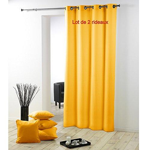 Douceur d' intérieur cdaffaires set di 2tende a con occhielli metal 140x 280cm poliestere uni essenziale giallo
